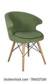 Chair isolated. Modern chair, green. Wooden furniture.