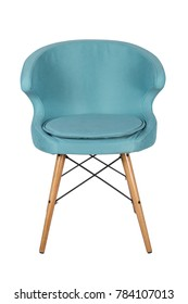 Chair isolated. Modern chair, light blue. Wooden furniture.