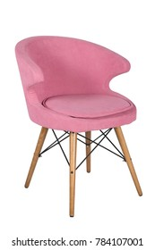 Chair isolated. Modern chair, pink. Wooden furniture.