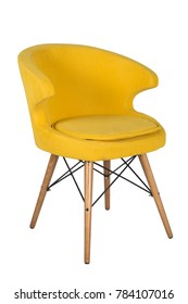 Chair isolated. Modern chair, yellow. Wooden furniture.