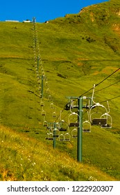 Chair lift at Mont Joly in summer, St. Gervais, Haute-Savoie, France