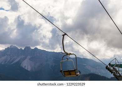chair lift in the mountain in South Tyrol, Italy