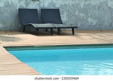 Chair loungers by the pool