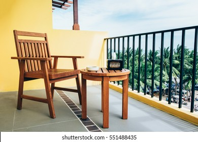 A chair on balcony of the resort for see view Bangsean sea.