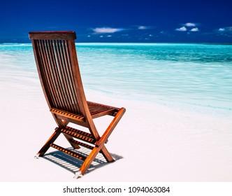 Chair on a beach on the maldives
