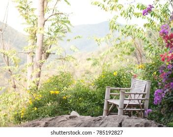 Chair On the Moutain With flowers and the morning air