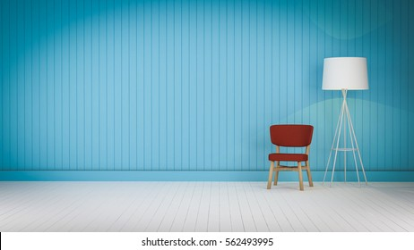 chair on the wood floor and lighting  color wood wall 3d rendering