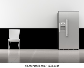 Chair and refrigerator to  face a blank wall