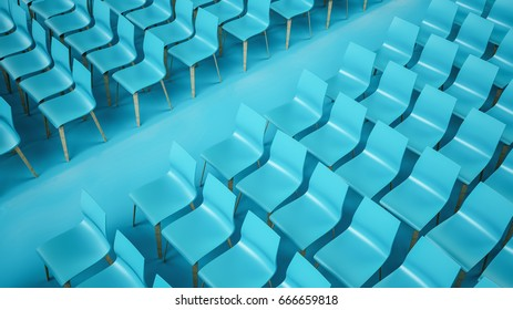 Chair rows, 3D illustration