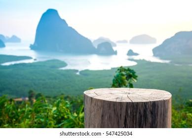 Chair stumps and Sa-met-nang-she mountain views landmark in Phang nga ,Thailand.