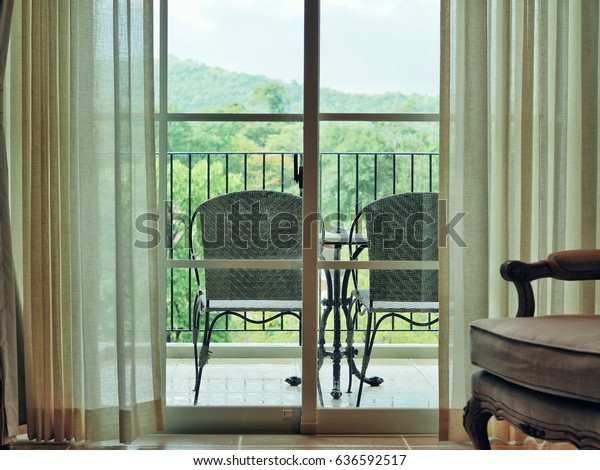 Phenomenal Chair Table On Balcony Terrace Concept Stock Image Pabps2019 Chair Design Images Pabps2019Com
