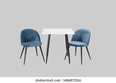 Chair and table set isolated on gray background with clipping path.