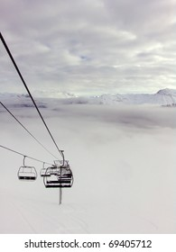 Chair-lift in alps