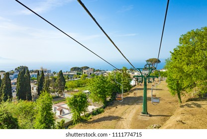 Chairlift in Anacapri is easiest way to get to summit of Monte Solaro at Capri Island, Italy