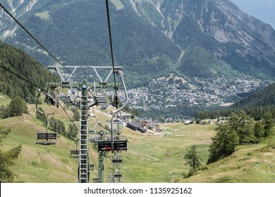 Chairlift in Courmayeur, Italian Alps, Italy in summertime