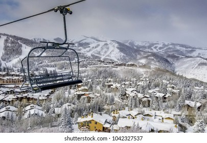 A chairlift at the Deer Valley Resort in Utah