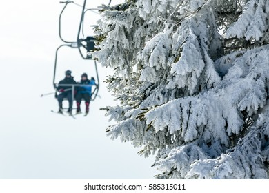 Chairlift in a small ski resort.