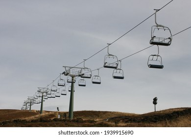 chairlift for winter sports and mountain hikers in the alps