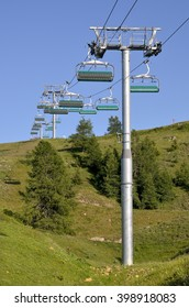 Chairlifts in summer at La Plagne, commune in the Tarentaise Valley, Savoie department and Rhone-Alpes region, in France
