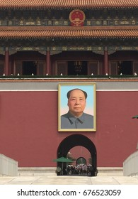 Chairman Mao's portrait hangs over Tiananmen Gate in the Forbidden City in Beiing, China