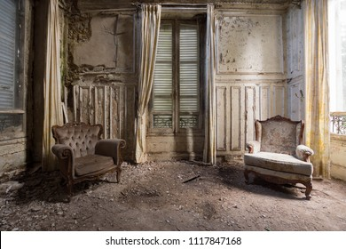Chairs in an abandoned room in france