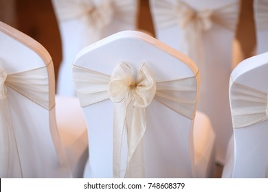 Chairs Decorated for a Wedding Banquet