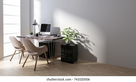 Chairs at desk with computer by empty workstation in bright room. 3d rendering