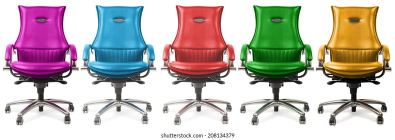 chairs of different colors, isolated on a white background