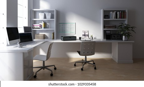 Chairs at empty computer workstation in clean room. 3d Rendering.