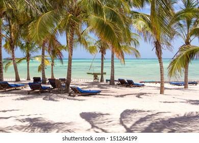 Chairs and green trees on a white sand beach. Watamu, Kenya