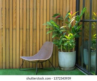Chairs in the living corner in the backyard, home and garden decoration