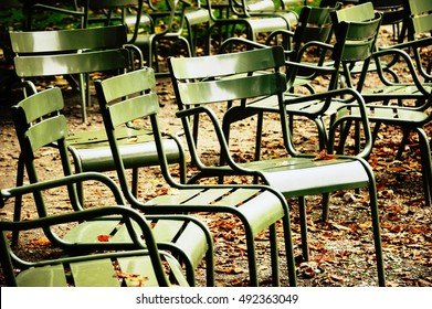 Chairs in Luxembourg garden. Paris (France) Toned photo.
