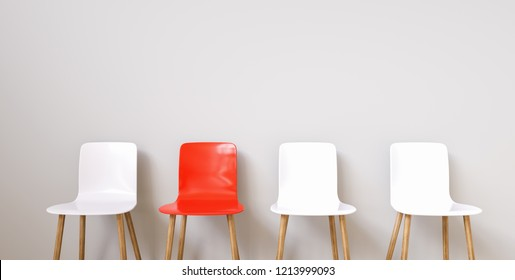 Chairs in modern design arranged in front of the wall for interior or graphic backgrounds