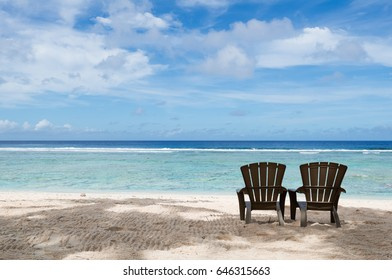 Chairs on the Coco Palm Garden Beach in Guam, USA. The beach is one of the most famous tourist attractions in Guam.