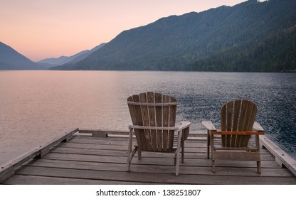 Chairs on Dock of Lake Crescent