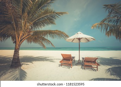 Chairs on Maldives beach - tropical  nature vacation background. Inspirational exotic travel destination
