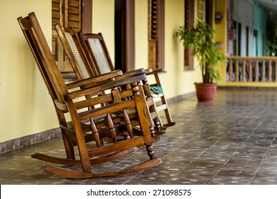Chairs on a porch in Vinales, Cuba