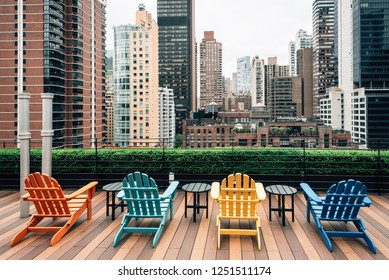 Chairs on a rooftop and view of Turtle Bay, in Midtown Manhattan, New York City