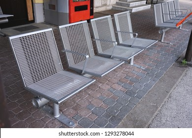 Chairs for passengers in the train station.