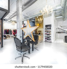 Chairs in a retro beauty salon. Hair salon and make up store, barber shop and manicure interior business