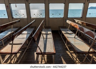 Chairs row on ferry ship