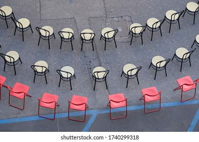 Chairs seen from above in a row