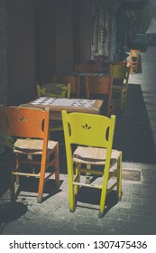 Chairs in a street cafe in Athens