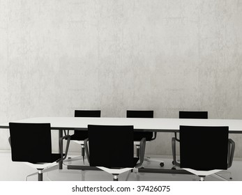 chairs and table to face a blank wall
