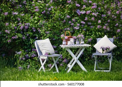 chairs and table in the garden of lilacs. Lunch in a lilac garden