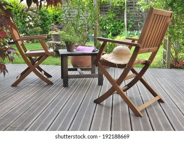 chairs and table in a wooden terrace
