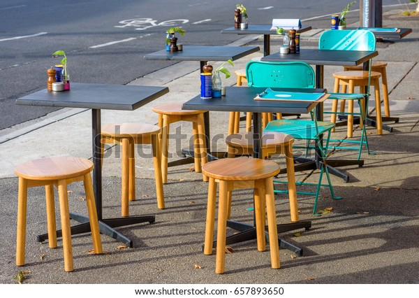 Excellent Chairs Tables Outdoor Cafe Northcote Melbourne Stock Photo Pabps2019 Chair Design Images Pabps2019Com