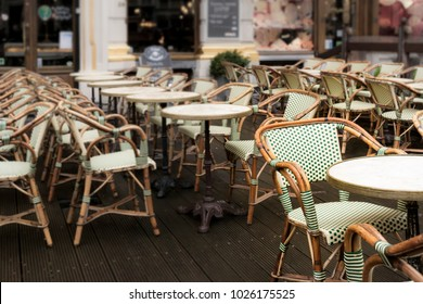 Chairs and tables outside of a restaurant in Grand Place, Brussels, Belgium