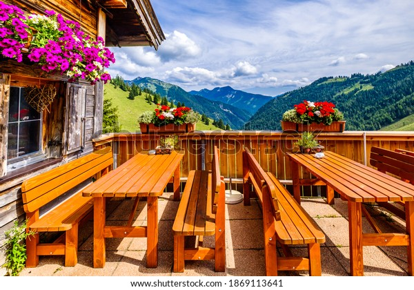 chairs and tables at a typical bavarian beergarden