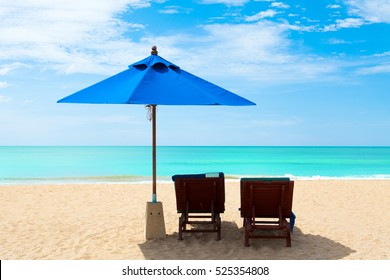 Chairs and umbrellas on a beautiful beach